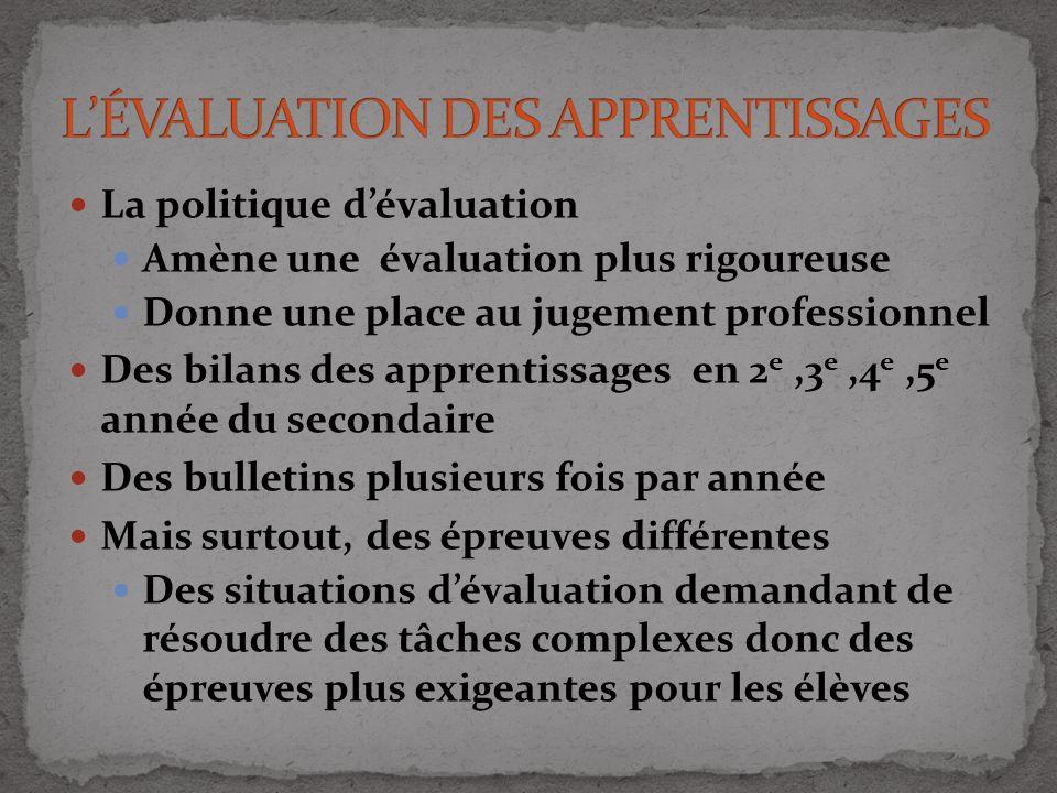 La politique dévaluation Amène une évaluation plus rigoureuse Donne une place au jugement professionnel Des bilans des apprentissages en 2 e,3 e,4 e,5