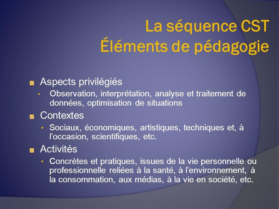 La séquence CST Éléments de pédagogie Aspects privilégiés Observation, interprétation, analyse et traitement de données, optimisation de situations Co