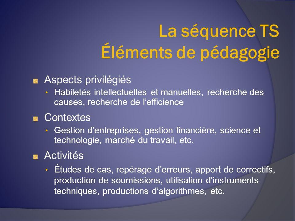 La séquence TS Éléments de pédagogie Aspects privilégiés Habiletés intellectuelles et manuelles, recherche des causes, recherche de lefficience Contex