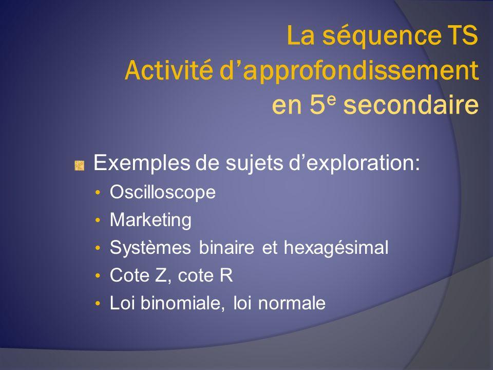 La séquence TS Activité dapprofondissement en 5 e secondaire Exemples de sujets dexploration: Oscilloscope Marketing Systèmes binaire et hexagésimal Cote Z, cote R Loi binomiale, loi normale