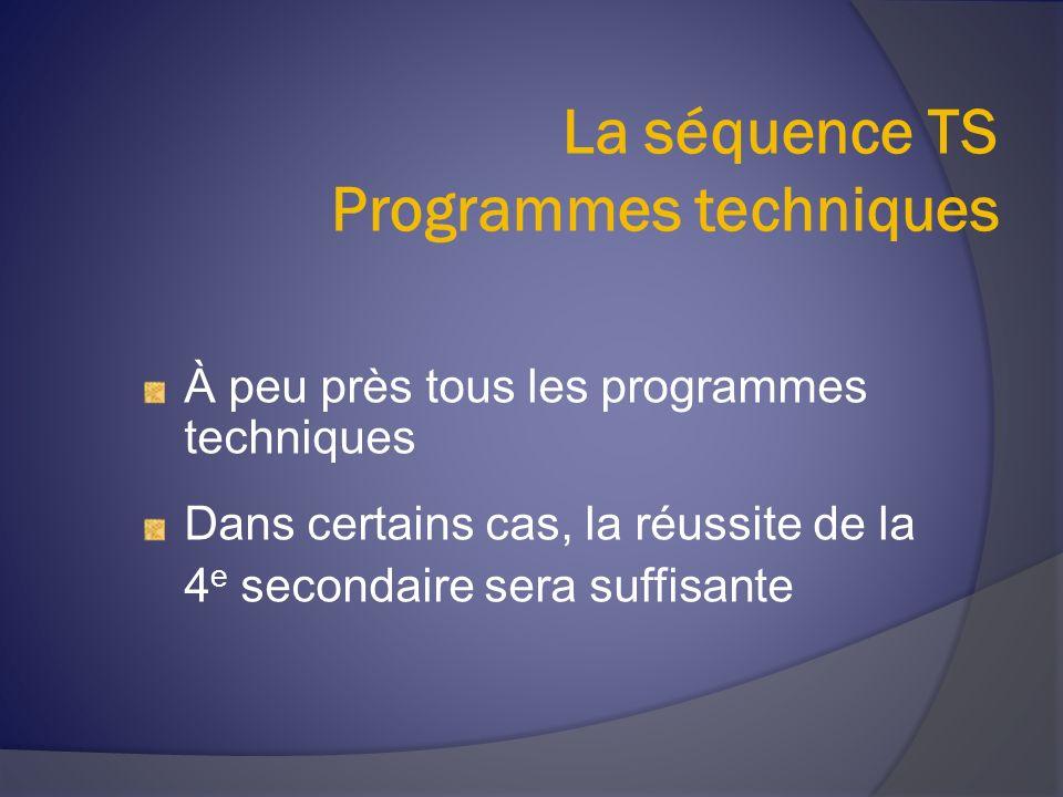 La séquence TS Programmes techniques À peu près tous les programmes techniques Dans certains cas, la réussite de la 4 e secondaire sera suffisante