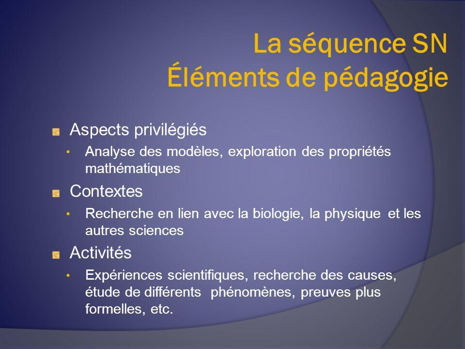 La séquence SN Éléments de pédagogie Aspects privilégiés Analyse des modèles, exploration des propriétés mathématiques Contextes Recherche en lien ave