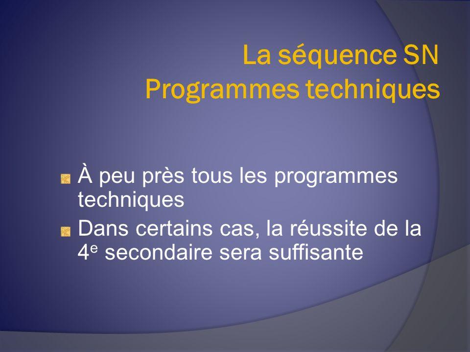 La séquence SN Programmes techniques À peu près tous les programmes techniques Dans certains cas, la réussite de la 4 e secondaire sera suffisante