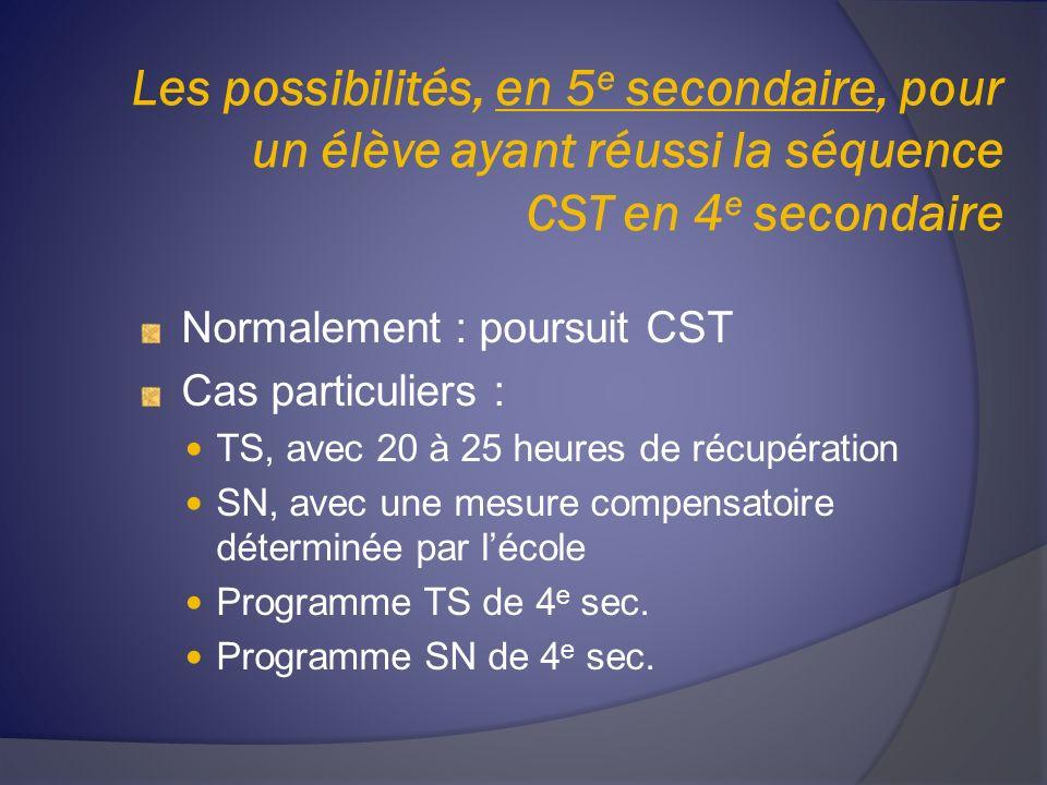Les possibilités, en 5 e secondaire, pour un élève ayant réussi la séquence CST en 4 e secondaire Normalement : poursuit CST Cas particuliers : TS, avec 20 à 25 heures de récupération SN, avec une mesure compensatoire déterminée par lécole Programme TS de 4 e sec.