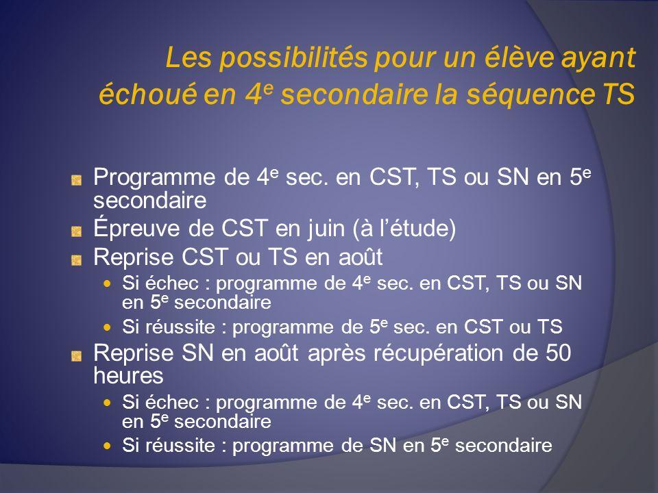 Les possibilités pour un élève ayant échoué en 4 e secondaire la séquence TS Programme de 4 e sec. en CST, TS ou SN en 5 e secondaire Épreuve de CST e