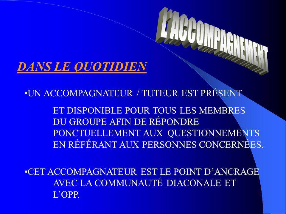 DANS LE QUOTIDIEN UN ACCOMPAGNATEUR / TUTEUR EST PRÉSENT ET DISPONIBLE POUR TOUS LES MEMBRES DU GROUPE AFIN DE RÉPONDRE PONCTUELLEMENT AUX QUESTIONNEMENTS EN RÉFÉRANT AUX PERSONNES CONCERNÉES.
