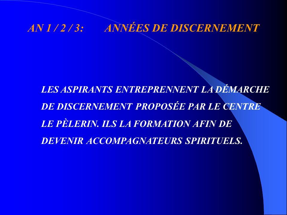 AN 1 / 2 / 3: ANNÉES DE DISCERNEMENT LES ASPIRANTS ENTREPRENNENT LA DÉMARCHE DE DISCERNEMENT PROPOSÉE PAR LE CENTRE LE PÈLERIN.