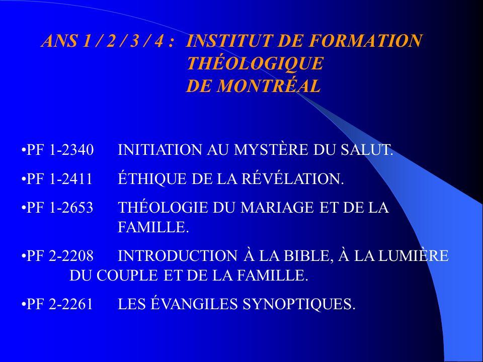 ANS 2 / 3 / 4 :INSTITUT DE FORMATION THÉOLOGIQUE DE MONTRÉAL TH 1-2628ECCLÉSIOLOGIE I: LÉGLISE AU SERVICE DU PROJET DE DIEU.