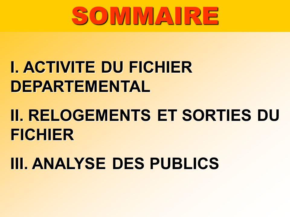 I. ACTIVITE DU FICHIER DEPARTEMENTAL