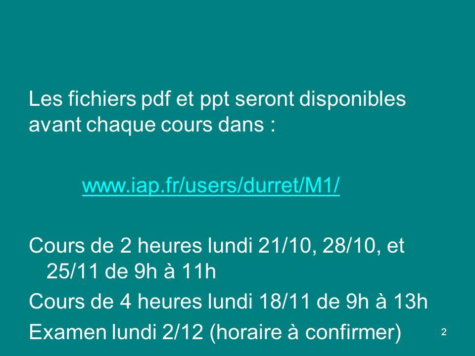 2 Les fichiers pdf et ppt seront disponibles avant chaque cours dans : www.iap.fr/users/durret/M1/ Cours de 2 heures lundi 21/10, 28/10, et 25/11 de 9h à 11h Cours de 4 heures lundi 18/11 de 9h à 13h Examen lundi 2/12 (horaire à confirmer)