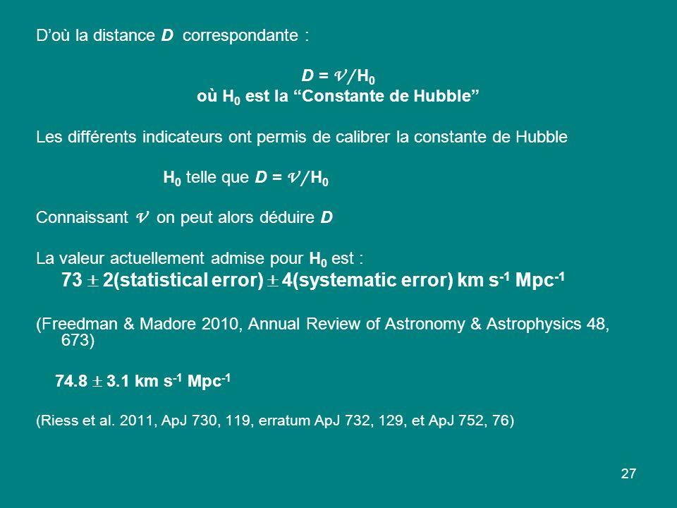 27 Doù la distance D correspondante : D = V / H 0 où H 0 est la Constante de Hubble Les différents indicateurs ont permis de calibrer la constante de Hubble H 0 telle que D = V / H 0 Connaissant V on peut alors déduire D La valeur actuellement admise pour H 0 est : 73 2(statistical error) 4(systematic error) km s -1 Mpc -1 (Freedman & Madore 2010, Annual Review of Astronomy & Astrophysics 48, 673) 74.8 3.1 km s -1 Mpc -1 (Riess et al.