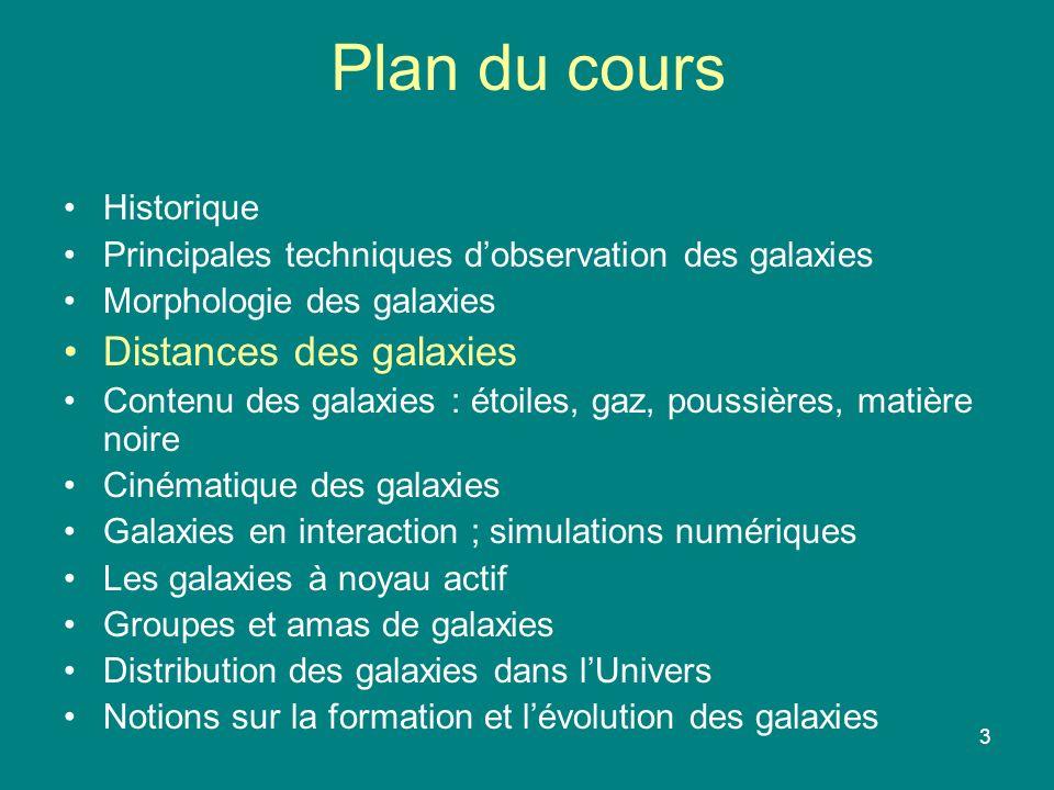 4 Distances des galaxies Quelques définitions : 1 UA (Unité Astronomique) = 150 millions de km = distance moyenne Terre-Soleil 1 année lumière = distance parcourue par la lumière en 1 année 10 16 m 1 pc (parsec) = distance dune étoile dont la parallaxe est 1 seconde darc 3,25 année lumière = 3,09 10 16 m 1 kpc = 10 3 pc (dimension galaxie) 1 Mpc = 10 6 pc (distance galaxies proches)