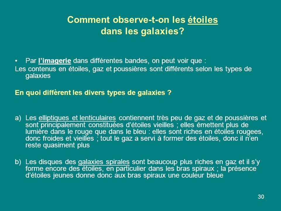 30 Comment observe-t-on les étoiles dans les galaxies? Par limagerie dans différentes bandes, on peut voir que : Les contenus en étoiles, gaz et pouss