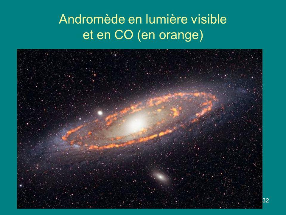 32 Andromède en lumière visible et en CO (en orange)