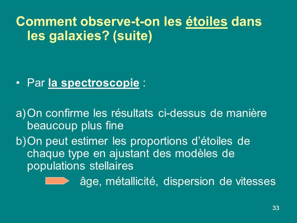 33 Comment observe-t-on les étoiles dans les galaxies? (suite) Par la spectroscopie : a)On confirme les résultats ci-dessus de manière beaucoup plus f