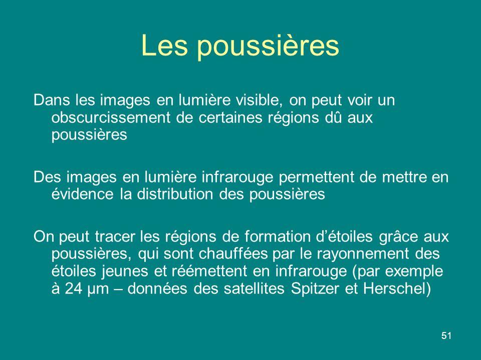 51 Dans les images en lumière visible, on peut voir un obscurcissement de certaines régions dû aux poussières Des images en lumière infrarouge permett