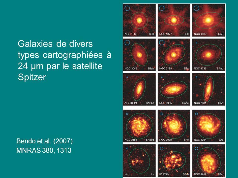 52 Galaxies de divers types cartographiées à 24 μm par le satellite Spitzer Bendo et al. (2007) MNRAS 380, 1313
