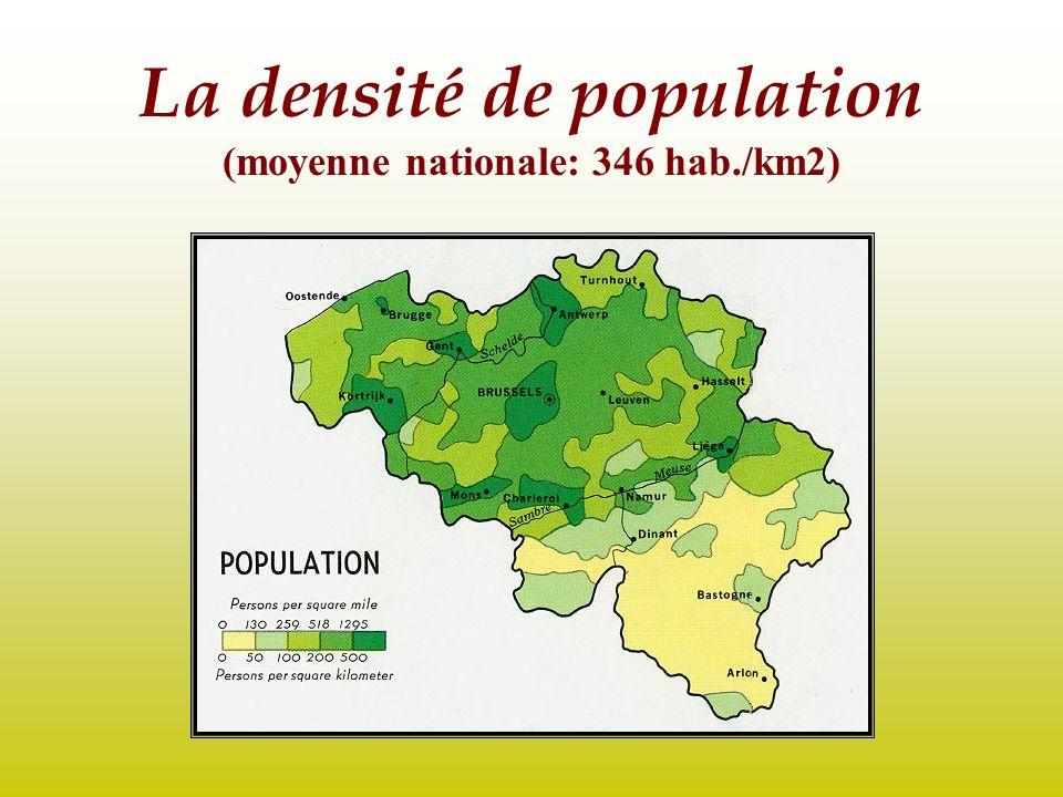 La densité de population (moyenne nationale: 346 hab./km2)