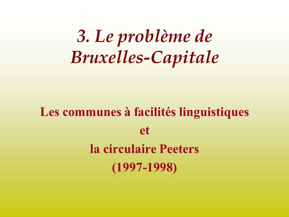 3. Le problème de Bruxelles-Capitale Les communes à facilités linguistiques et la circulaire Peeters (1997-1998)