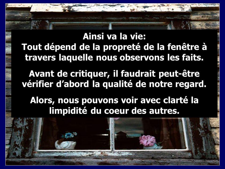 Ainsi va la vie: Tout dépend de la propreté de la fenêtre à travers laquelle nous observons les faits.