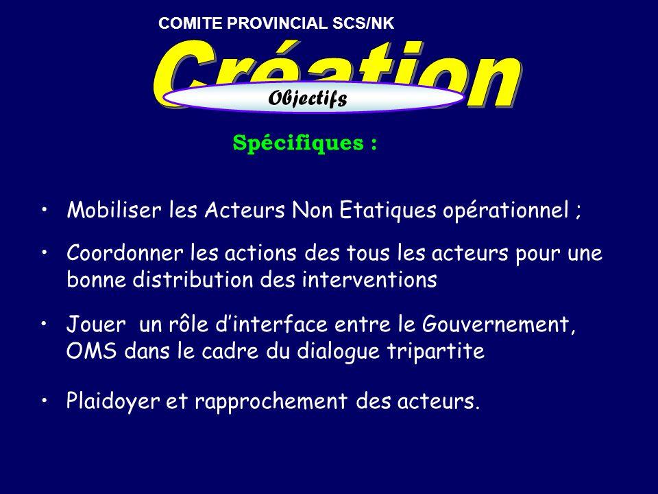 Spécifiques : Coordonner les actions des tous les acteurs pour une bonne distribution des interventions COMITE PROVINCIAL SCS/NK Objectifs Mobiliser l