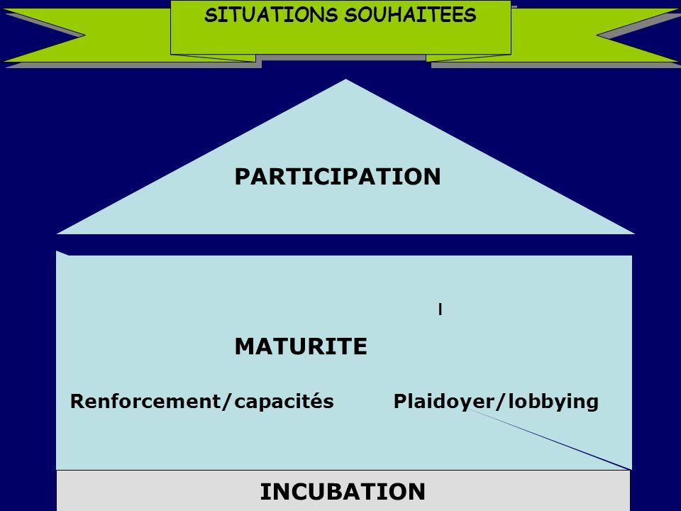 SITUATIONS SOUHAITEES I Renforcement/capacitésPlaidoyer/lobbying MATURITE INCUBATION PARTICIPATION