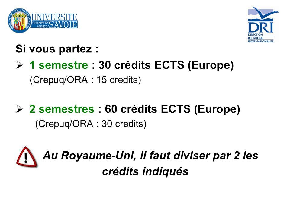 Si vous partez : 1 semestre : 30 crédits ECTS (Europe) (Crepuq/ORA : 15 credits) 2 semestres : 60 crédits ECTS (Europe) (Crepuq/ORA : 30 credits) Au R