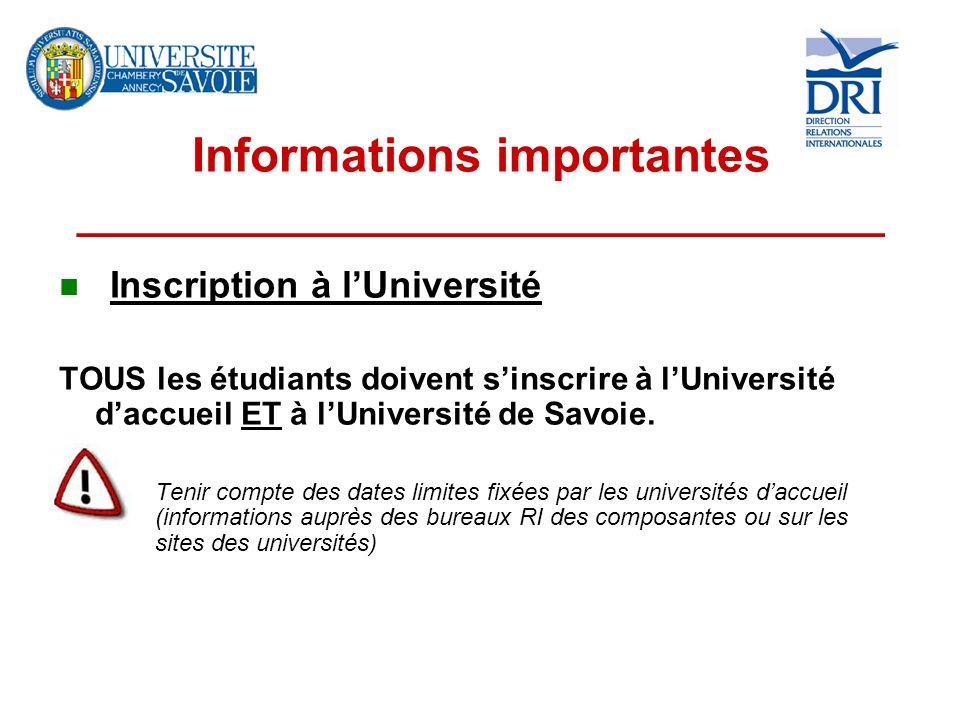 Informations importantes __________________________________ Inscription à lUniversité TOUS les étudiants doivent sinscrire à lUniversité daccueil ET à