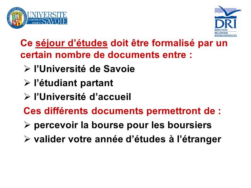 Ce séjour détudes doit être formalisé par un certain nombre de documents entre : lUniversité de Savoie létudiant partant lUniversité daccueil Ces diff