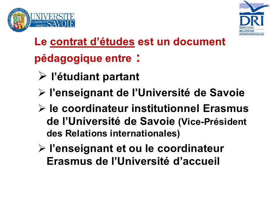 Le contrat détudes est un document pédagogique entre : létudiant partant lenseignant de lUniversité de Savoie le coordinateur institutionnel Erasmus d