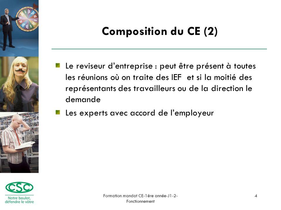 Formation mandat CE-1ère année-J1-2- Fonctionnement 4 Composition du CE (2) Le reviseur dentreprise : peut être présent à toutes les réunions où on traite des IEF et si la moitié des représentants des travailleurs ou de la direction le demande Les experts avec accord de lemployeur