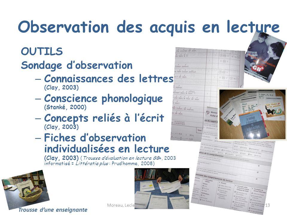 Observation des acquis en lecture OUTILS Sondage dobservation – Connaissances des lettres (Clay, 2003) – Conscience phonologique (Stanké, 2000) – Conc