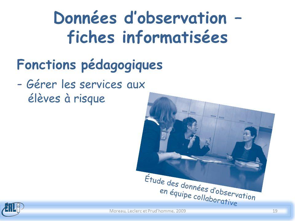 Données dobservation – fiches informatisées Moreau, Leclerc et Prud'homme, 2009 Fonctions pédagogiques - Gérer les services aux élèves à risque Étude