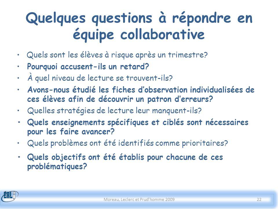 Quelques questions à répondre en équipe collaborative Quels sont les élèves à risque après un trimestre? Pourquoi accusent-ils un retard? À quel nivea