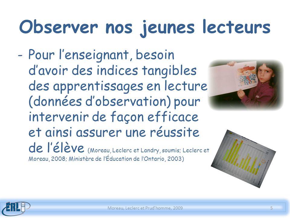 Observer nos jeunes lecteurs -Pour lenseignant, besoin davoir des indices tangibles des apprentissages en lecture (données dobservation) pour interven