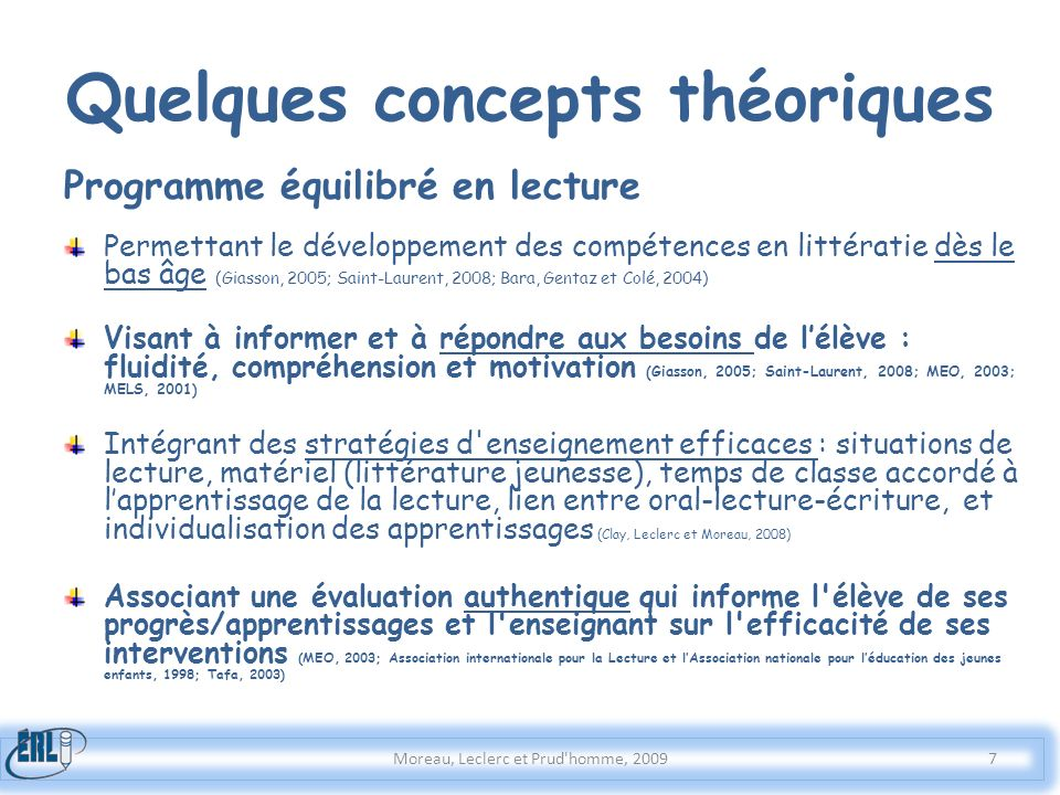 Quelques concepts théoriques Programme équilibré en lecture Permettant le développement des compétences en littératie dès le bas âge (Giasson, 2005; S