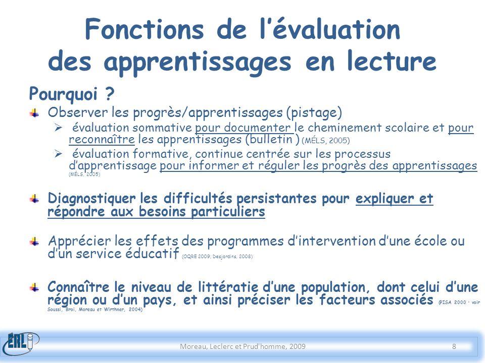 Fonctions de lévaluation des apprentissages en lecture Pourquoi ? Observer les progrès/apprentissages (pistage) évaluation sommative pour documenter l