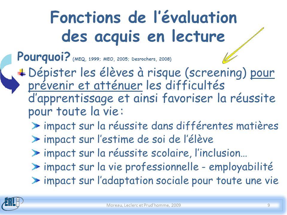 Fonctions de lévaluation des acquis en lecture Pourquoi? (MEQ, 1999; MEO, 2005; Desrochers, 2008) Dépister les élèves à risque (screening) pour préven