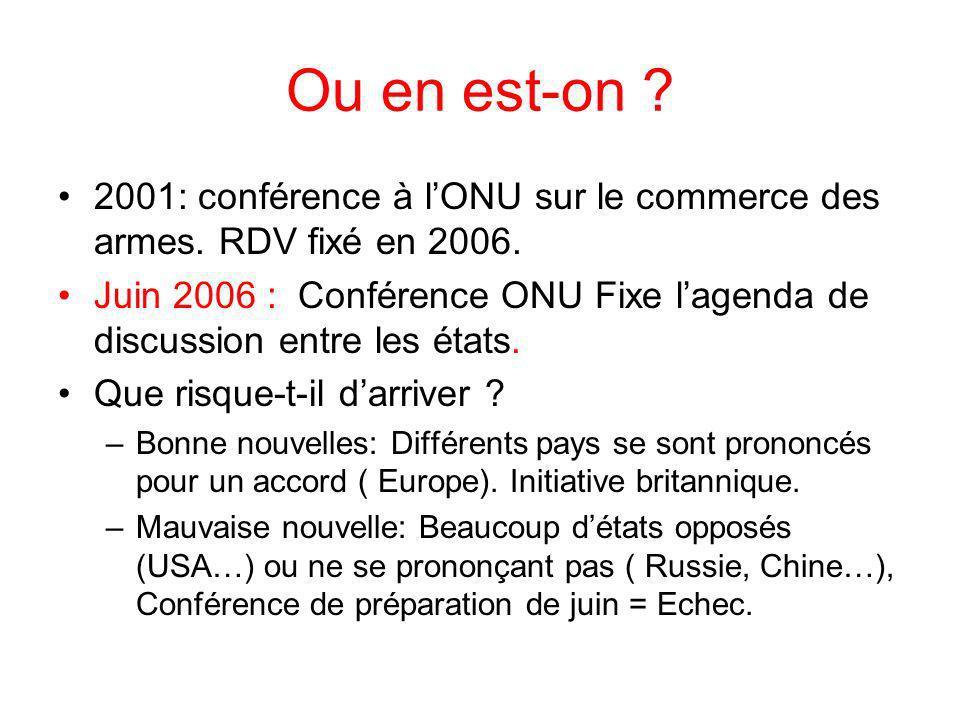 Ou en est-on . 2001: conférence à lONU sur le commerce des armes.