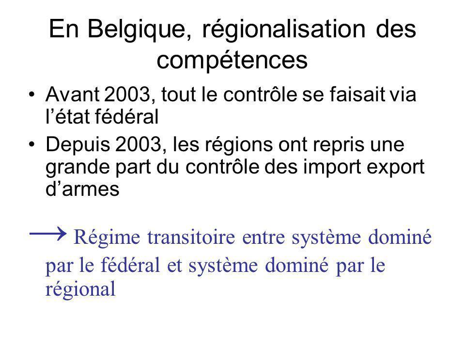 En Belgique, régionalisation des compétences Avant 2003, tout le contrôle se faisait via létat fédéral Depuis 2003, les régions ont repris une grande part du contrôle des import export darmes Régime transitoire entre système dominé par le fédéral et système dominé par le régional