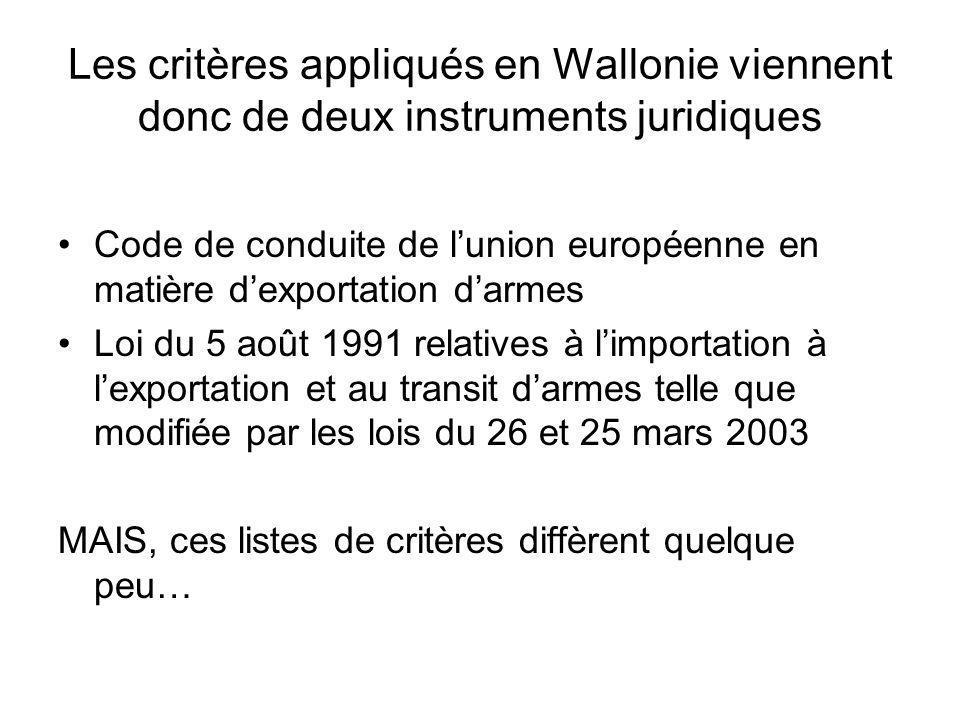 Les critères appliqués en Wallonie viennent donc de deux instruments juridiques Code de conduite de lunion européenne en matière dexportation darmes Loi du 5 août 1991 relatives à limportation à lexportation et au transit darmes telle que modifiée par les lois du 26 et 25 mars 2003 MAIS, ces listes de critères diffèrent quelque peu…