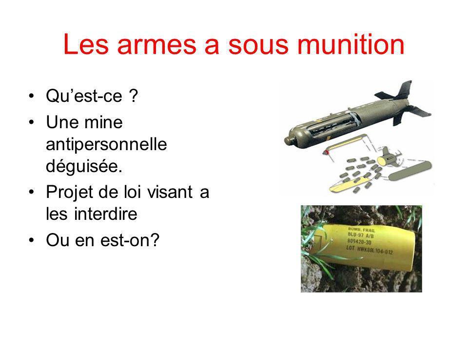 Les armes a sous munition Quest-ce . Une mine antipersonnelle déguisée.