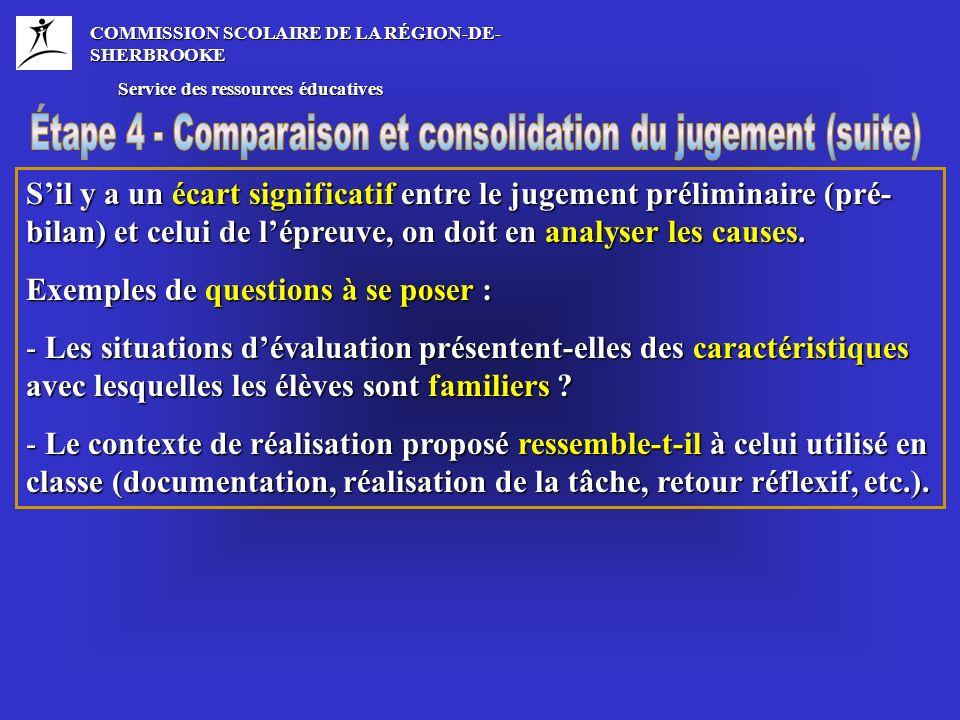 COMMISSION SCOLAIRE DE LA RÉGION-DE- SHERBROOKE Service des ressources éducatives Service des ressources éducatives Sil y a un écart significatif entre le jugement préliminaire (pré- bilan) et celui de lépreuve, on doit en analyser les causes.