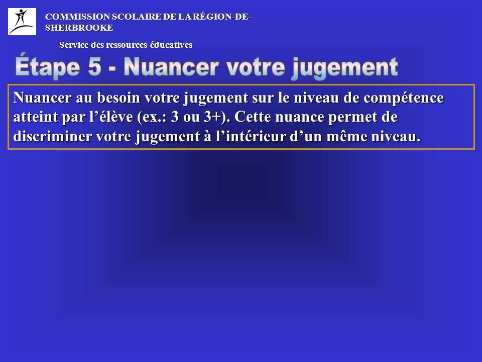 COMMISSION SCOLAIRE DE LA RÉGION-DE- SHERBROOKE Service des ressources éducatives Service des ressources éducatives Nuancer au besoin votre jugement sur le niveau de compétence atteint par lélève (ex.: 3 ou 3+).