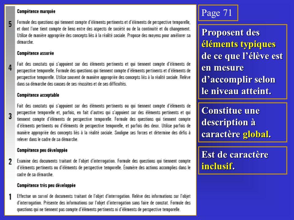Page 71 Proposent des éléments typiques de ce que lélève est en mesure daccomplir selon le niveau atteint.