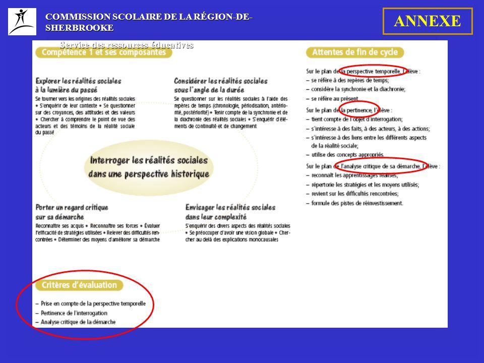 COMMISSION SCOLAIRE DE LA RÉGION-DE- SHERBROOKE Service des ressources éducatives Service des ressources éducatives ANNEXE