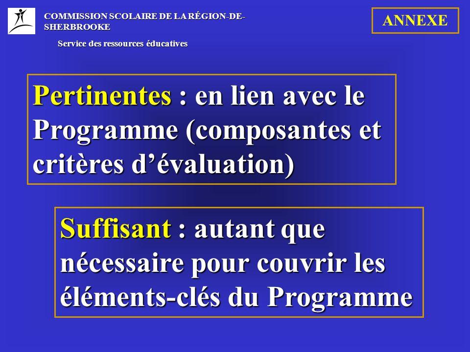 COMMISSION SCOLAIRE DE LA RÉGION-DE- SHERBROOKE Service des ressources éducatives Service des ressources éducatives Pertinentes : en lien avec le Programme (composantes et critères dévaluation) Suffisant : autant que nécessaire pour couvrir les éléments-clés du Programme ANNEXE