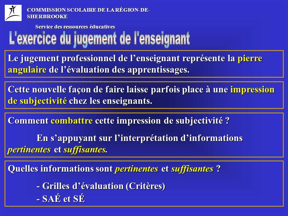 COMMISSION SCOLAIRE DE LA RÉGION-DE- SHERBROOKE Service des ressources éducatives Service des ressources éducatives Étape 1 – La constitution du dossier (sélection des SAÉ et SÉ) Étape 2 – Analyser les rétroactions des SAÉ et des SÉ sélectionnées Étape 3 – Jugement préliminaire (pré-bilan) Étape 4 – Comparaison et consolidation du jugement Étape 5 – Nuancer le jugement Étape 6 – Attribuer une valeur numérique Ces étapes, présentées à plusieurs enseignants lors de formations, se veulent une référence commune dans lensemble de la CSRS et du Québec.