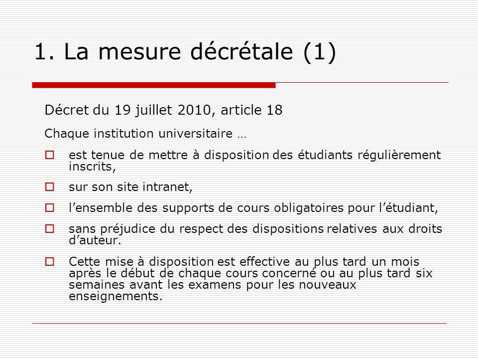 1. La mesure décrétale (1) Décret du 19 juillet 2010, article 18 Chaque institution universitaire … est tenue de mettre à disposition des étudiants ré