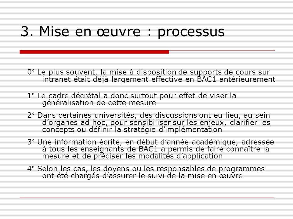 3. Mise en œuvre : processus 0° Le plus souvent, la mise à disposition de supports de cours sur intranet était déjà largement effective en BAC1 antéri